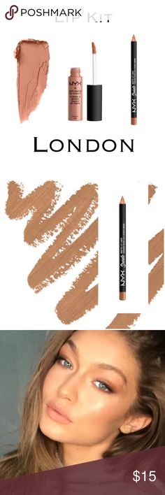 Matte Lip Cream & Suede Liner Nude Kit NYX SOFT MATTE LIP CREAM - LONDON (mid-tone beige) Super popular, compared to Kylie. Velvety smooth Soft Matte Lip Cream delivers a burst of creamy color and sets to a stunning matte finish. Surprisingly durable, lightweight and delightfully creamy, this sweetly scented formula is a fan favorite.                                                     NYX SUEDE MATTE LIP LINER - LONDON  Suede Matte Lip Liner. Every shade goes on super smooth and provides…