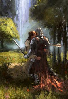 Love Couples in love Fantasy Elfen Fantasy, Armadura Medieval, Knight In Shining Armor, Arte Obscura, Chivalry, Medieval Fantasy, Fantasy Artwork, Story Inspiration, Fantasy World