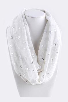 Soft Viscose Infinity Scarf stamped with Silvery Anchors