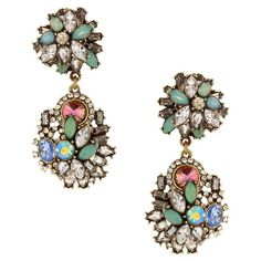 Add a pop of style to evening ensembles and work outfits alike with these gold-plated earrings, showcasing bold asymmetrical pendants studded with rhinestone...
