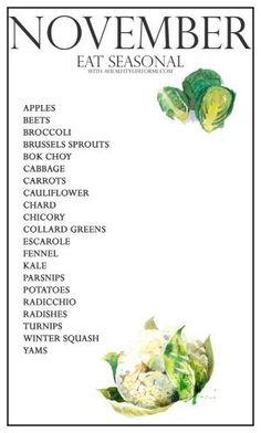 Seasonal Produce Guide for November | ahealthylifeforme.com by wanda