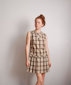 60s small brown plaid pleated mini schoolgirl uniform dress womens vintage clothing brown and white tartan belted sleeveless drop waist by furhatguild on Etsy