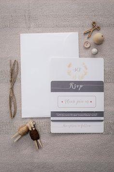 Natural coloured wreath wedding invitation Rsvp, Place Cards, Wedding Invitations, Place Card Holders, Wreaths, Natural, Color, Masquerade Wedding Invitations, Colour
