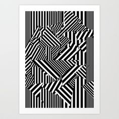 Dazzle Camo #01 - Black & White Art Print by Largetosti