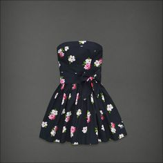 A Abercrombie Fitch Hollister Women Blue FLORAL ANABEL Strapless Dress New