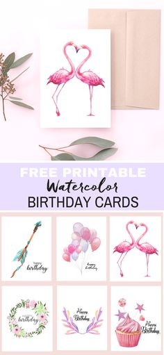 Free printable watercolor birthday cards are easy to download and fun to gift. From flamingos, arrows, balloons, wreaths and cupcakes you can find your perfect card for mom, your best friend or your family. via @tinselbox_
