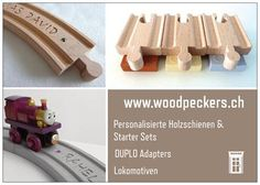 ch Personalized wooden train tracks and Brio Duplo Adapters. Woodpeckers, Wooden Train, Starter Set, Brio, Train Tracks, Flyers, Etsy Seller, Create, Fitness
