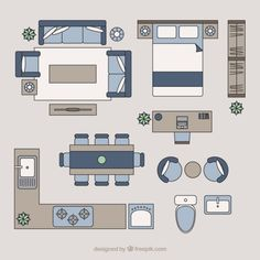 Home furniture in top view Premium Vector