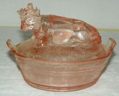 Vtg Pink Depression Glass COW Sugar Bowl and Cover 5.5 Wide X 4.5 Inches Tall