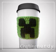 Minecraft creeper cup cozy by CraftingNerdy on Etsy, $5.00