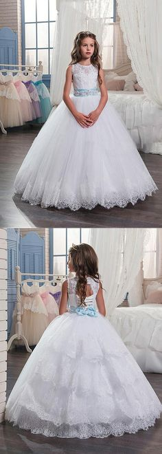 Charming Tulle & Satin Jewel Neckline Ball Gown Flower Girl Dresses With Lace Appliques
