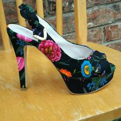 Designed By Omid Pump Sexy High Heel Peep-Toe Shoe Tapestry Hawaiian Print NWOT  | Clothing, Shoes & Accessories, Women's Shoes, Heels | eBay!