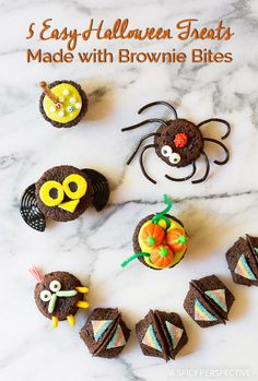 5 Wickedly Easy Halloween Treats Made with Brownie Bites on ASpicyPerspective.com - Fun for Kids!