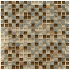 Merola Tile Tessera Mini Brixton 11-3/4 in. x 11-3/4 in. Stone & Glass Mosaic Wall Tile