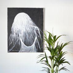 """""""Lace Woman"""" acrylic painting by Hammi´s Design.   Mustavalkoinen sisustusmaalaus <3.   #nainen #woman #bnw #sisustus #maalaus #hammisdesign Tapestry, Paintings, Design, Decor, Hanging Tapestry, Tapestries, Decoration, Paint, Painting Art"""
