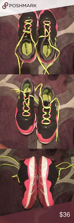 Under armor storm sneakers Neon yellow, pink and black under armoire storm  Sneakers. Great condition very comfortable great for running and cross training. No tears or stains Under Armour Shoes Athletic Shoes