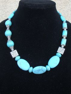 Turquoise Howlite and Silver Necklace with by LolasWonders on Etsy, $79.00
