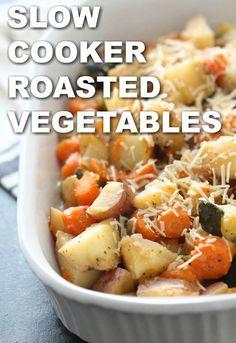 Slow Cooker Roasted Vegetables - Six Sisters' Stuff Slow Cooker Recipes - Roasted Vegetable Crockpot Recipes, Vegetable Slow Cooker, Crockpot Veggies, Crock Pot Vegetables, Healthy Crockpot Recipes, Roasted Vegetables, Slow Cooker Recipes, Vegetarian Slow Cooker, Crockpot Carrots