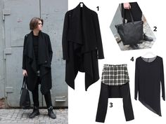 Black Layering with 1. Coat available at: http://shop.anothamista.com/product/unbalanced-long-coat 2. Bag by Jonas Olsson Atelier soon available at shop.anothamista.com 3. Pants available at: http://shop.anothamista.com/product/shirts-beggy-pants 4. Sweatshirt available at: http://shop.anothamista.com/product/side-swallowed-tailored-shirts