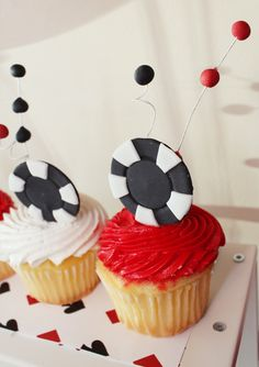Poker Chip Cupcake Toppers -12 qty- Celebrate poker night with poker chip cupcake toppers also great for a birthday party. $12.00, via Etsy.