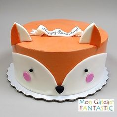 Mon Petit Renard! Fox Cake, Fox Party, Animal Cakes, Fondant Toppers, Birthday Cake Decorating, Baby Shower, 1st Birthday Girls, Girl Cakes, Cute Cakes
