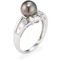 Belpearl Tahitian Pearl & Diamond Tiara Ring (€285) ❤ liked on Polyvore featuring jewelry, rings, white, diamond jewellery, white ring, wide-band rings, 14k jewelry and round cut diamond rings