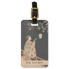 Young Woman Admiring Plum Blossoms at Night art Tags For Bags #young #woman #japanese #lady #plum #blossom #vintage #oriental #gifts #accessories #harunobu #suzuki