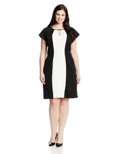 Sandra Darren Women's Plus-Size Short Sleeve Color Block Neck Slit Dress, Black/Ivory/Champagne, 16 Sandra Darren, To BUY or SEE just CLICK on AMAZON right here http://www.amazon.com/dp/B00GY21MTQ/ref=cm_sw_r_pi_dp_I1Eutb00ZZ74NB2N