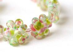 Green Pink Lampwork Glass Bead Set Made to Order | SusanSheehan - Jewelry on ArtFire