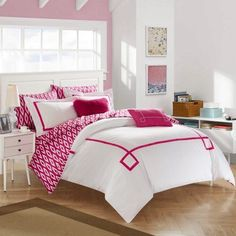 Chic Home 9-Piece Edrea Contemporary Greek Key Embroidered Reversible Queen Bed In a Bag Comforter Set Fuchsia With sheet set, Pink