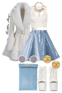 """Scream Queens Look #4."" by monroestyles ❤ liked on Polyvore featuring Moschino, N°21, River Island, Shoe Cult, ASOS and ScreamQueens"