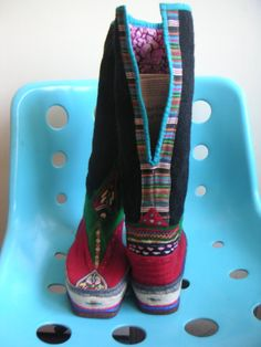vintage wool tibetan boots unworn green black red by edgertor, $35.00