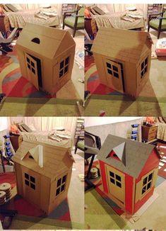 How to Make a Cardboard Cat Playhouse Cardboard Box Houses, Cardboard Car, Cardboard Box Crafts, Cardboard Playhouse, Cat Playhouse, Diy Arcade Cabinet, Creative Birthday Cards, Cat House Diy, Dollhouse Kits