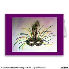 Mardi Gras Mask Greeting or Note Cards - Watercolor painting with slight pastel touches of a feather Mardi Gras mask. The uses the traditional Mardi Gras colors of purple, green, and gold. Two peacock feathers top off the mask.
