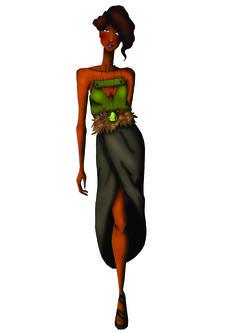 Look 7 - A saia tem inspiração nos elefantes, lembrando suas orelhas, enquanto a blusa faz um link com os primeiros elementos dos looks com bolsos utilitários porém, de uma forma mais inusitada.