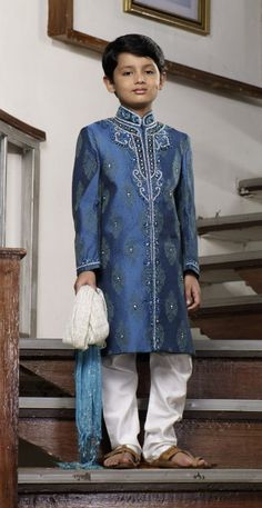 Shop Textile India Fashion Vogue Boys Embellished With Stone And Zari Work #Sherwani - 3206 (Blue) online at lowest price in USA and purchase various collections of Sherwani & Indo Western in Textile India Fashion Vogue brand at grabmore.com the best #onlineshopping store in USA.