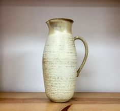 High fire stoneware pottery large pitcher. Handmade