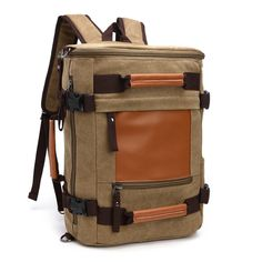 Vetasac Multi-functional Men Canvas Leather Backpack Cylinder Sports Hiking Travel Bag (Khaki). 1.Materials:Made from soft and durable canvas and PU leather. 2.Multi-purpose uses: Handbag, backpack, shoulder bag, satchel, perfect for outdoor, working, traveling, hiking, camping, school and daily use. 3.Structure: 1 Main zip pocket, 2 front pockets, 2 side mesh pocket ,1 back zipper pocket,1 laptop compartment inside,2 phone pockets inside. 4.This backpack can contain tablet PC, notebooks...