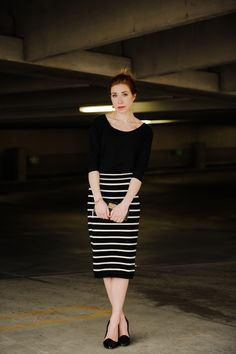 i'd rock: striped tan and black skirt (on).  black top (target or on).