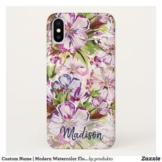 Keep your new iPhone XS protected with Modern iPhone XS cases from Zazzle! Choose from thousands of designs and brands such as Case-Mate, OtterBox, Speck & more! Pretty Iphone Cases, Iphone Case Covers, Floral Flowers, Plastic Case, Floral Watercolor, Apple Iphone, Create Your Own, Monogram, Modern
