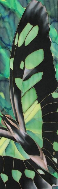 """Macro Malachite"" 50 x 13 inches, silk painting by Pamela Glose.  See her blog at www.MySilkArt.com."
