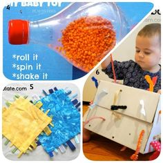 Learn with Play at Home: 8 Homemade toys for Babies. I like the pull through thing.