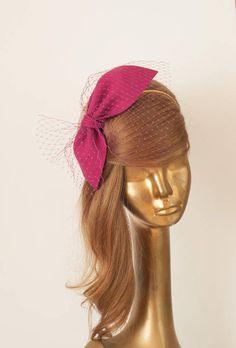 Magenta Magenta Bow for Women Fascinator Headband, Headpiece, Hobbies For Women, Cheap Hobbies, Wedding Fascinators, Millinery Hats, Silicone Bracelets, White Headband, Fancy Hats