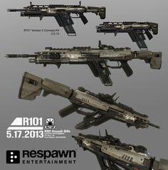 Titanfall 1: R101-C Assault Rifle, Ryan Lastimosa on ArtStation at https://www.artstation.com/artwork/WlwXQ