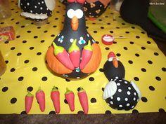arte em cabaça e biscuit