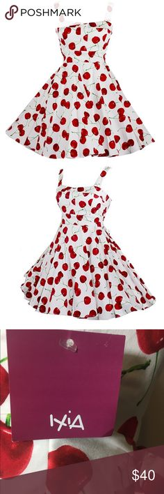 "Ixia Pin-Up 50's Rockabilly Modcloth Swing 🍒Dress 🍒This adorable IXIA 1950s inspired swing dress is pin-up perfect for any retro-lovin' Rockabilly Modcloth girl! Features a classic 🍒cherry 🍒 print. Size Medium NEW WITH TAGS!!! Bust: 17"" (Bust is lightly padded) Waist: 14.5"" Length: 32.5""  