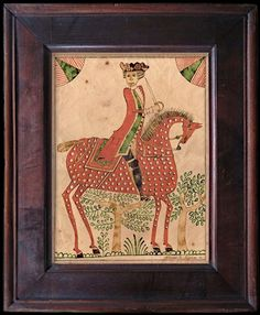 Ca. 1770, NAIVE DRAWING OF REDCOAT SOLDIER ON SPOTTED RED HORSE by stephanfolkart.com