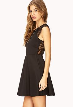 Forever 21 November 2013 black knit a-line dress w lace back