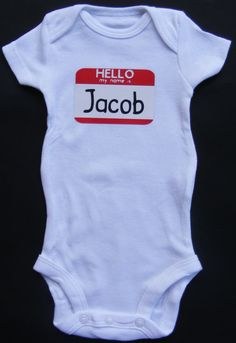 Hello My Name Is Name Tag Short Sleeve Onesie by DumaisDesigns, $11.25