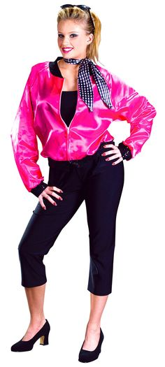 Adult Costumes - This costume includes the T-Bird Sweetie hop pink costume jacket with black trim with Pink Ladies printed on back with silver glitter, black pants and the neck scarf. Grease Halloween Costumes, Sock Hop Costumes, Halloween Party Kostüm, Halloween Costumes For Teens, Adult Costumes, Costumes For Women, Halloween Ideas, Adult Halloween, 1950s Costumes